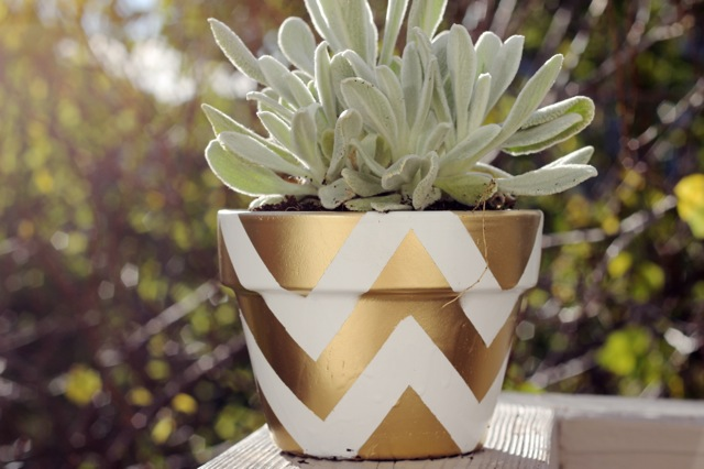 DIY Gold Chevron Terracota Planter