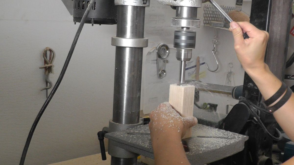 DIY Wood Candelabra Drilling Machine