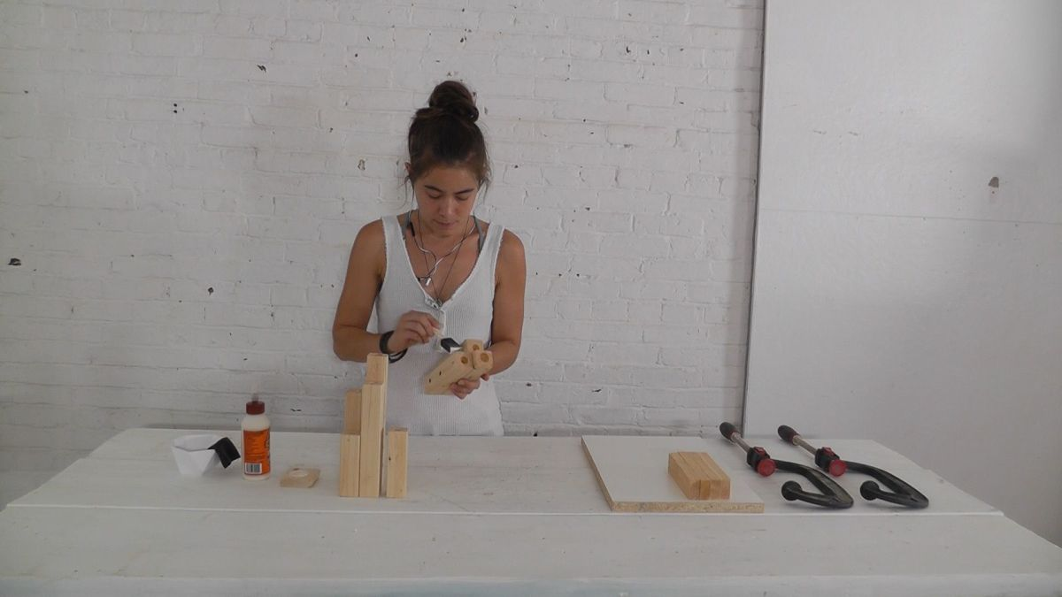 DIY Wood Candelabra Glue All Together