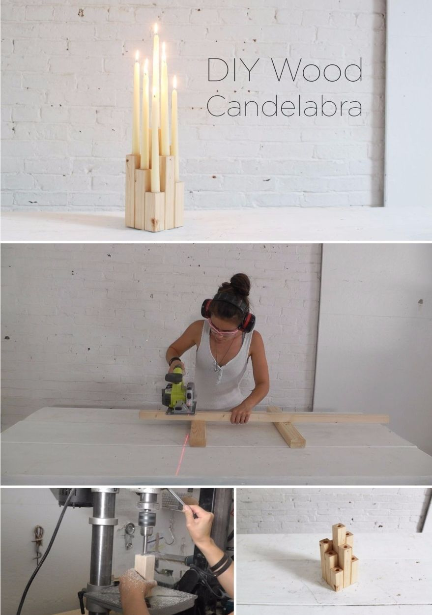 DIY candelabra from wood
