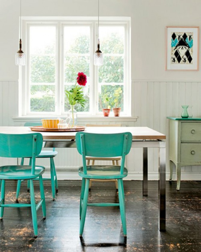 Dining room with aqua turquoise chairs