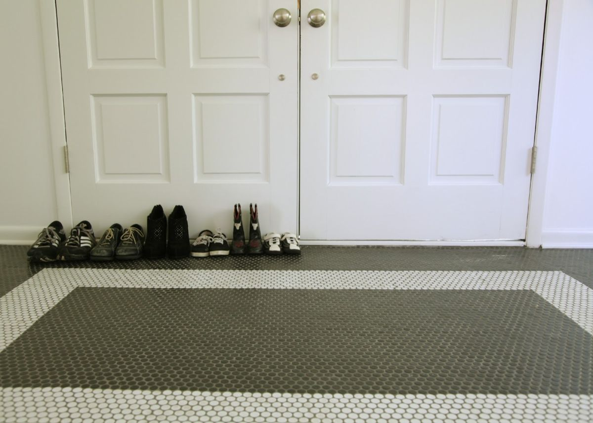 Entryway Penny Tiles Floor Design