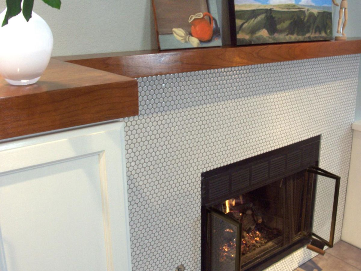 30 penny tile designs that look like a million bucks fireplace penny tiles wrap doublecrazyfo Choice Image