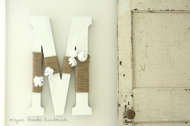 Flower m letter with rope