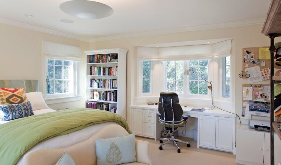 Front window desk in your bedroom. Bed Desk Combos Save Space And Add Interest To Small Rooms