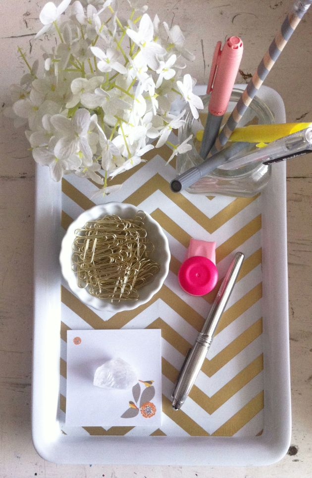 Golden chevron desk tray