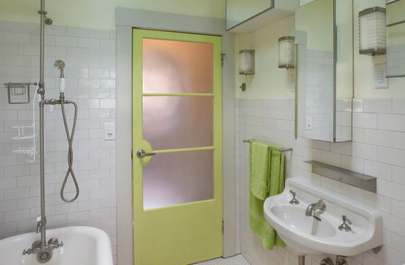 Green bathroom door painted