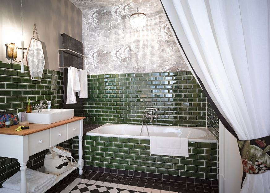 Green subway tiles for bathroom