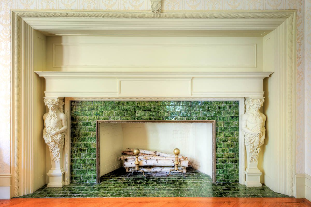 Green tiles for fireplace design