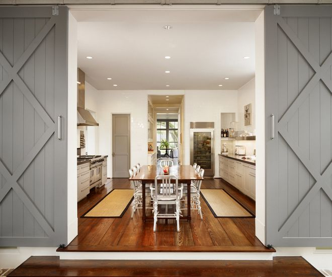 Grey painted sliding barn doors