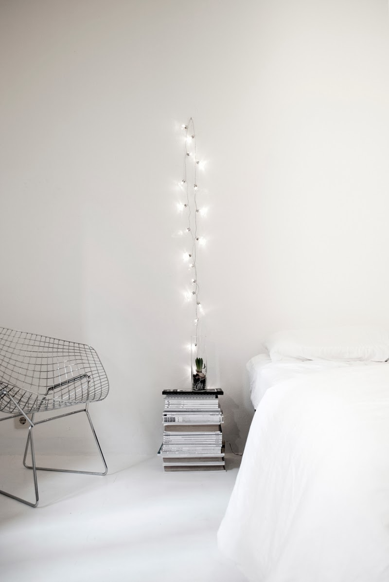 Hang string lights closer to bed