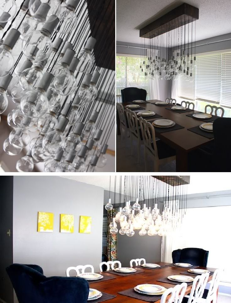 Diy chandeliers that will light up your day hanging light bulbs chandelier mozeypictures Image collections