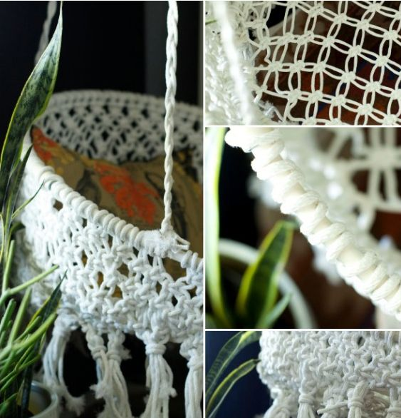 Hanging macrame chair