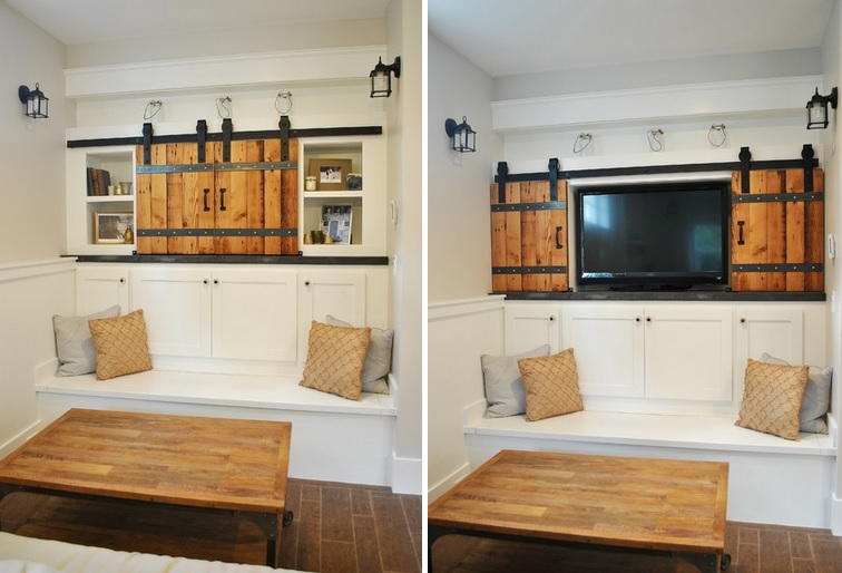 sliding barn doors. hide tv easy with some sliding barn doors