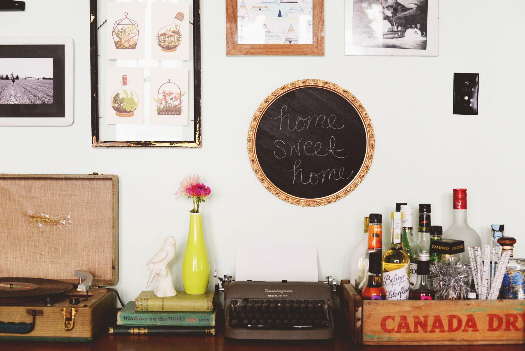 Home sweet home chalkboard framed