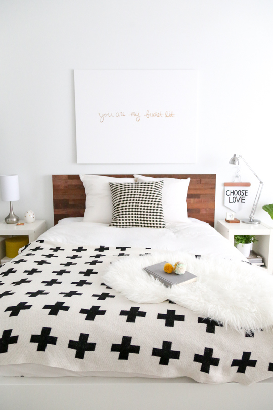 Ikea stick wood headboard