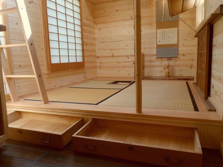 Japanese inspired teahouse on wheels Drawers