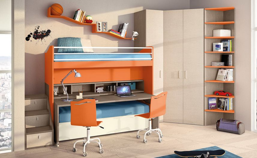 Space Saver Beds For Kids bed-desk combos save space and add interest to small rooms