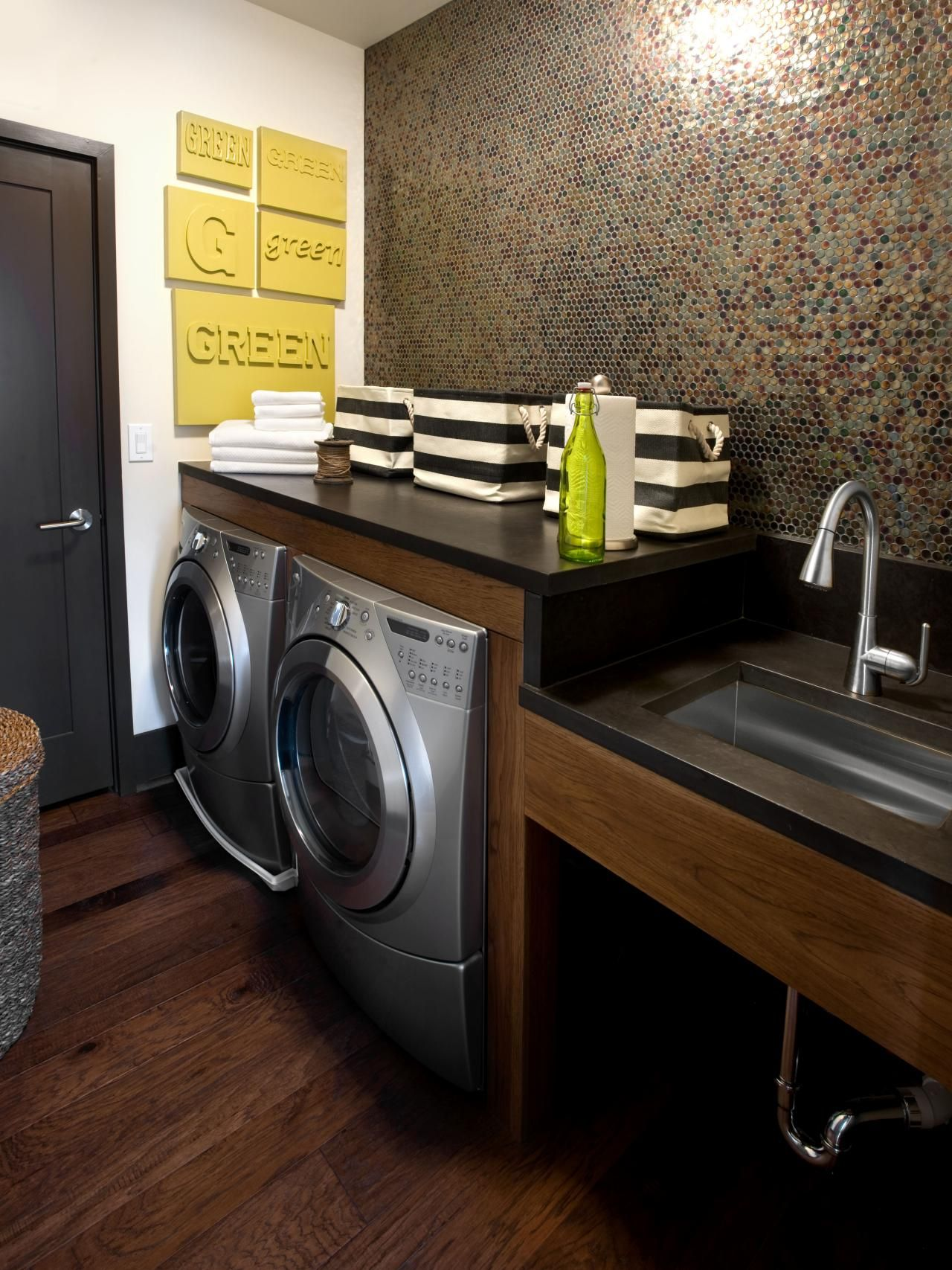 Laundry Room With A Dark Penny Wall Design