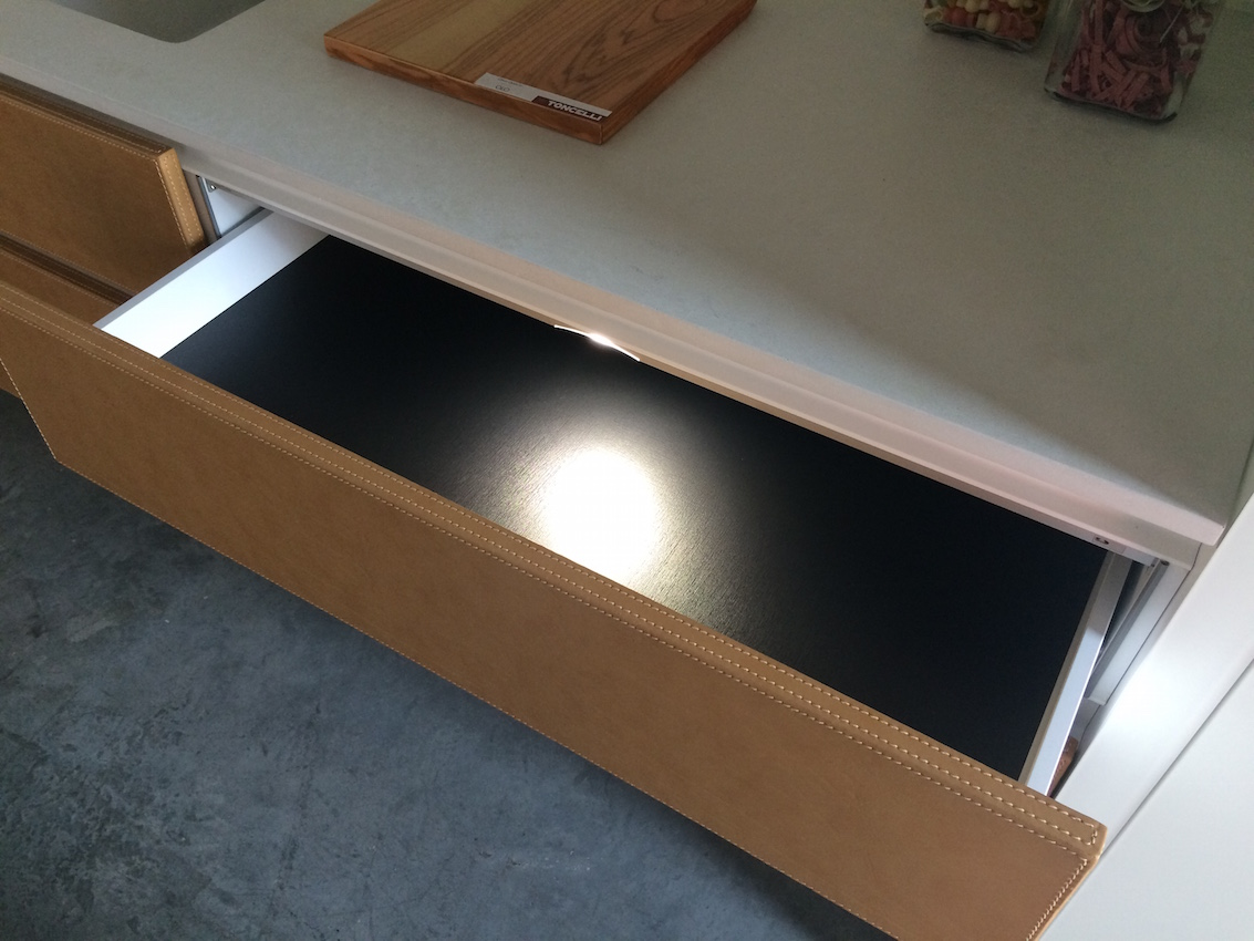 Leather kitchen drawer