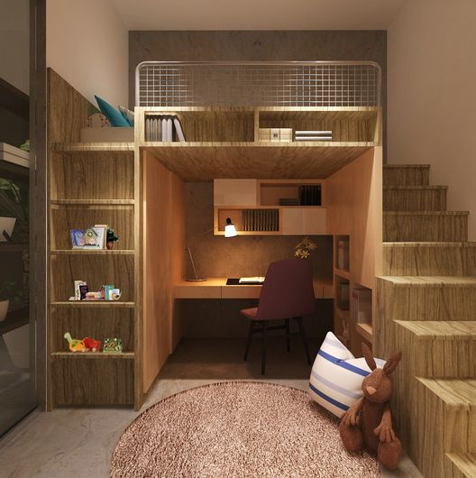 Loft bed with a complex design