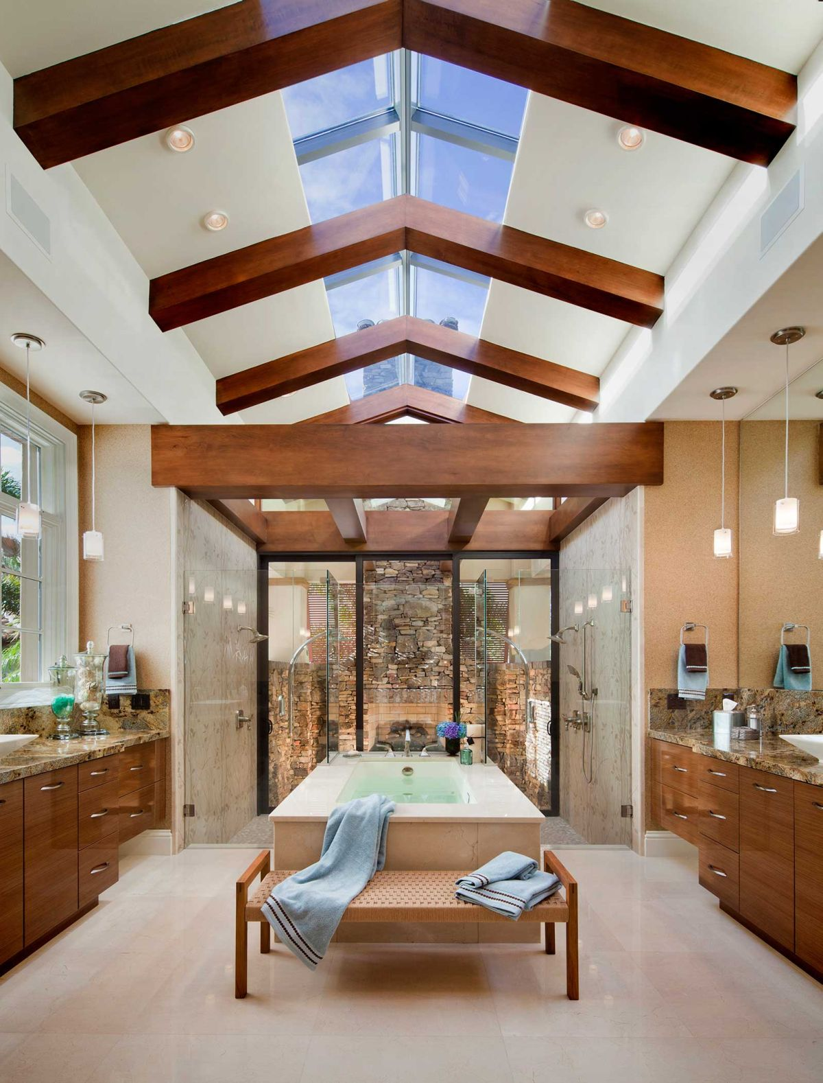 Master Bathroom With Vaulted Ceiling And Skylight