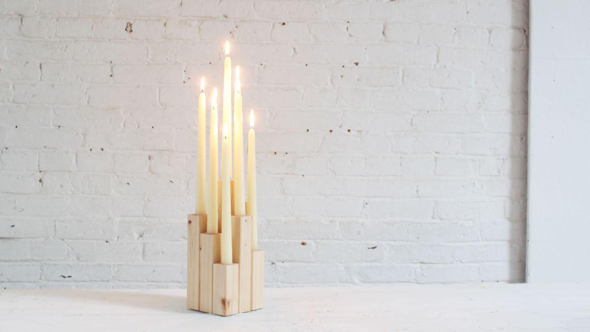 Modern DIY Wood Candelabra