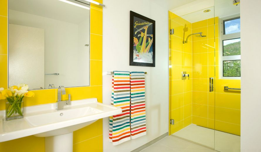 Modern Bathroom Design With Yellow Tiles Nice Look