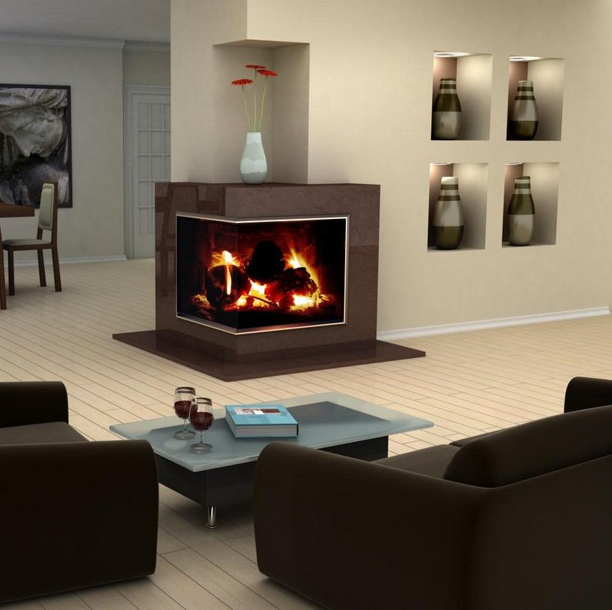modern interior design showcasing a corner fireplace - Gas Fireplace Design Ideas