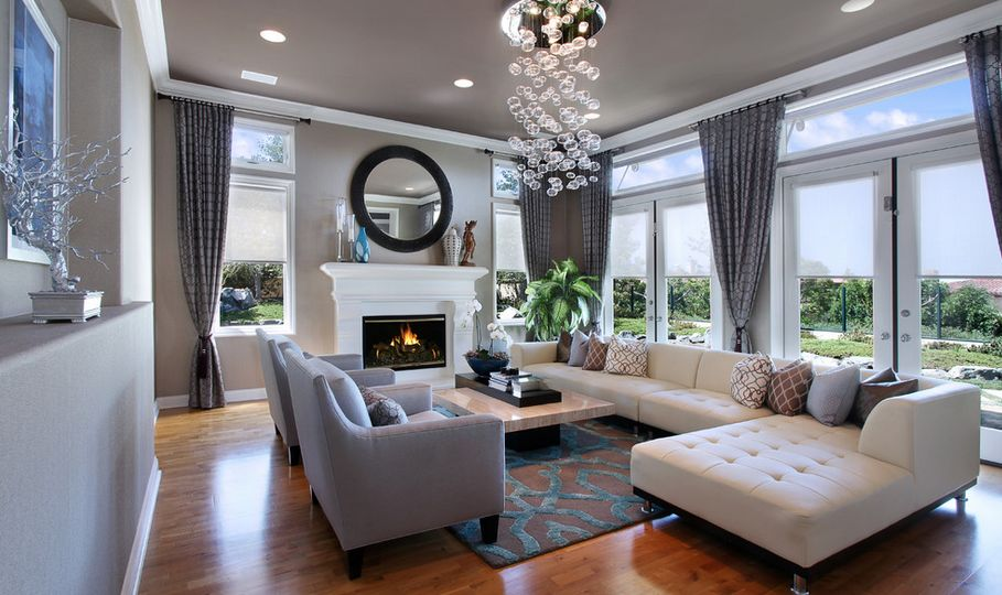 Modern Living Room Residence Featuring An White Fireplace Part 42