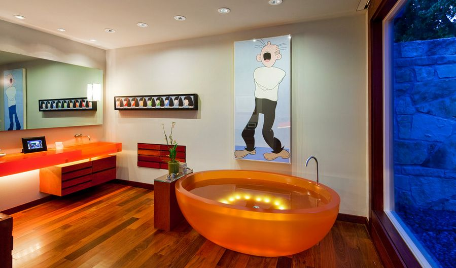 Modern orange furniture with LED