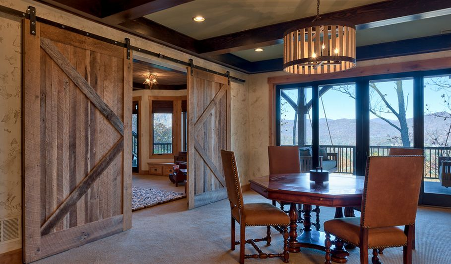 50 Ways To Use Interior Sliding Barn Doors In Your Home : Mountain dining room area with a cozy decor from www.homedit.com size 909 x 531 jpeg 98kB