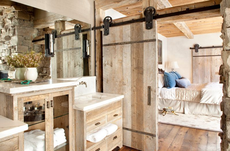 Mountain ski lodge barn door