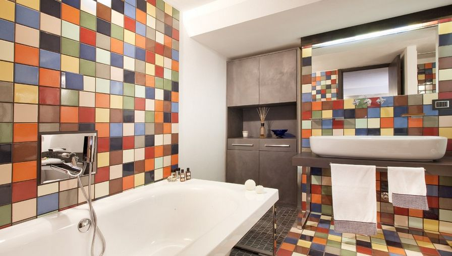 Multicolored bathroom square tiles