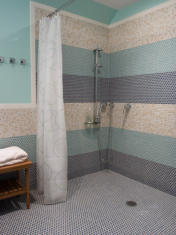 Multicolored Penny Tiles For A Shower