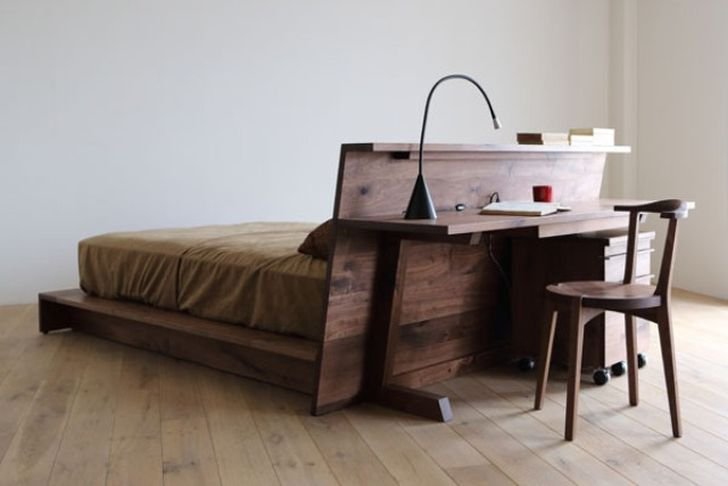 Multifuctional platform bed with desk