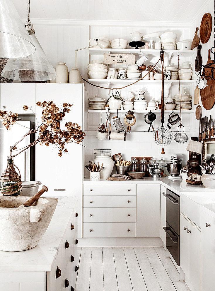 Open shelves for white kitchen