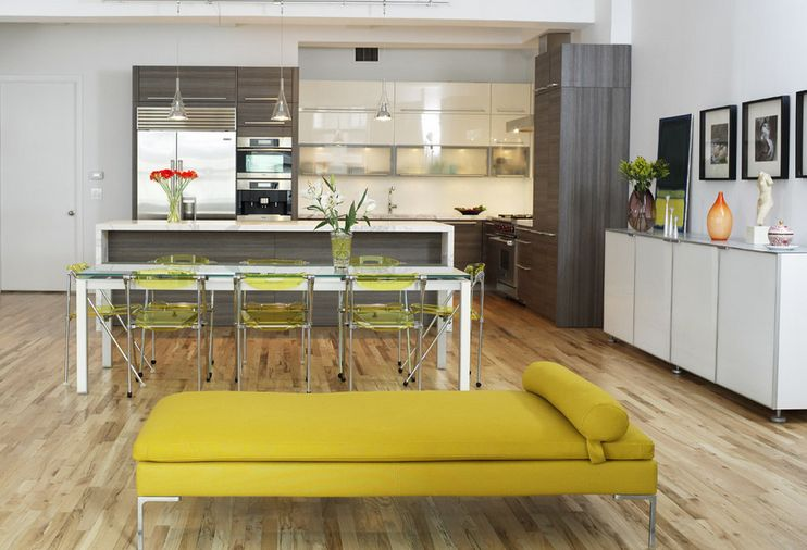 Open space kitchen with Chartreuse funiture accents
