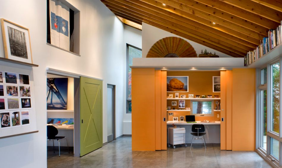 Orange modern sliding barn doors for office space
