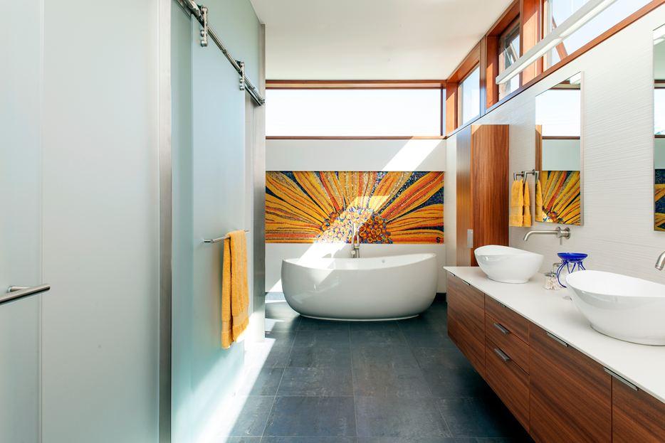 Orange Wandkunst für Badezimmer