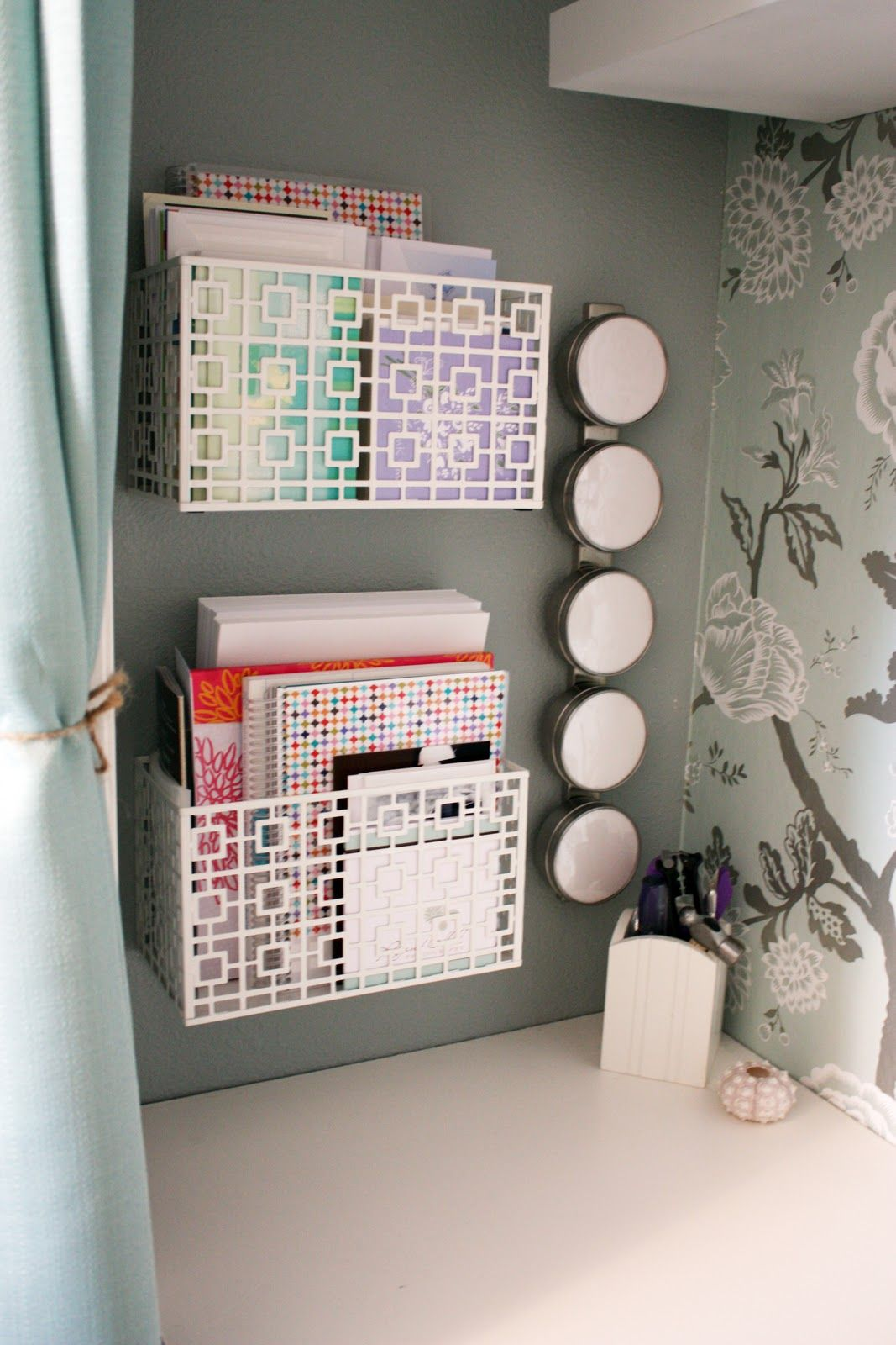 19. Install Organizing Bins To Your Wall.