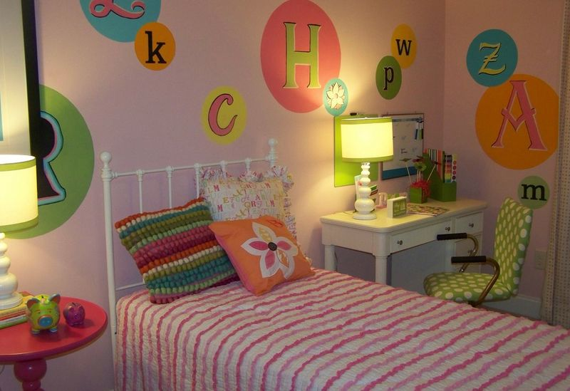 Painted letters on the wall for kids room