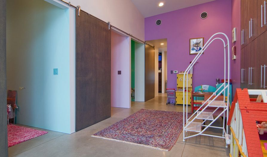 Playroom area with sliding barn door