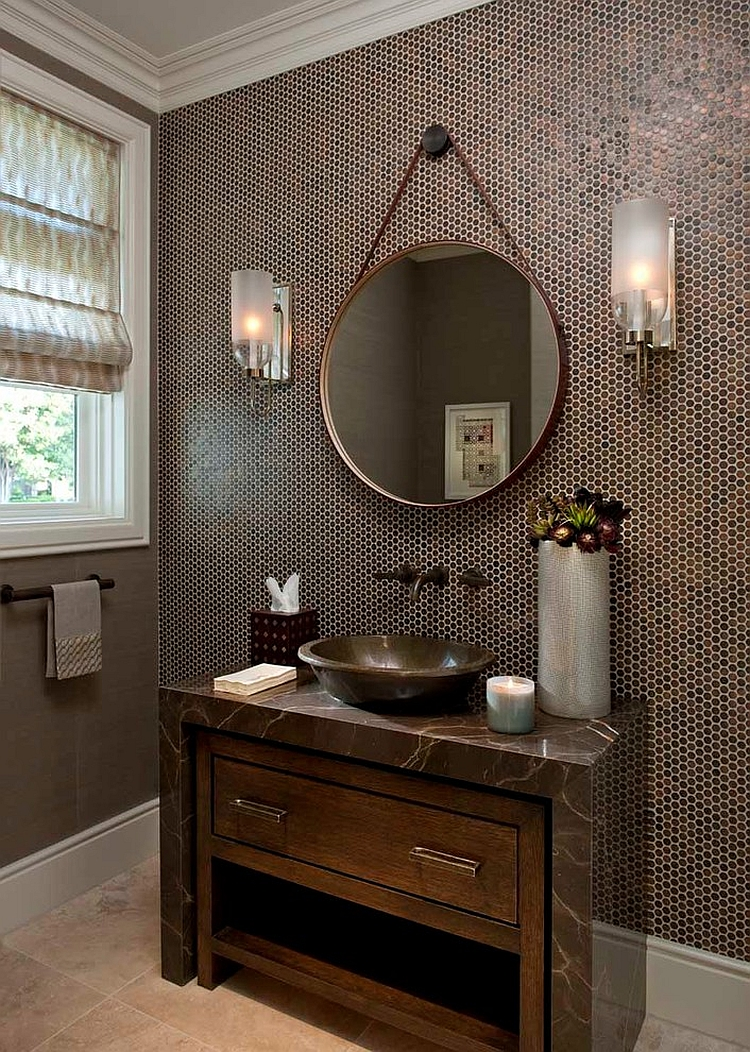 Powder room with penny tiles on walls