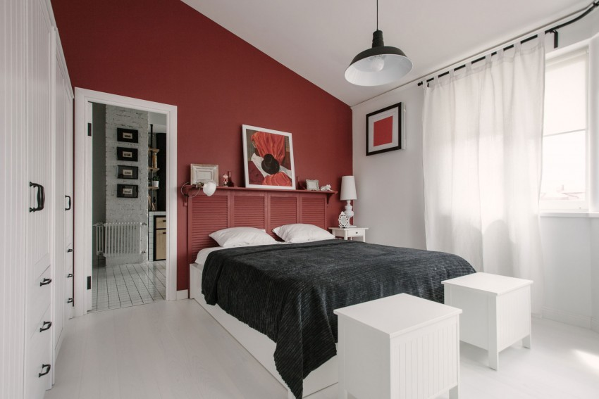 Renovated Moscow apartment buro5 master bedroom red wall