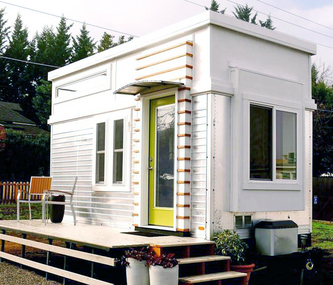 Salvaged trailer into an elegant tiny home
