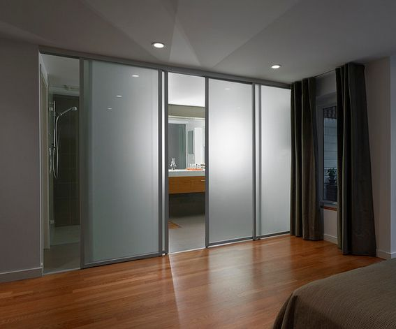 Sliding panel doors for bathroom