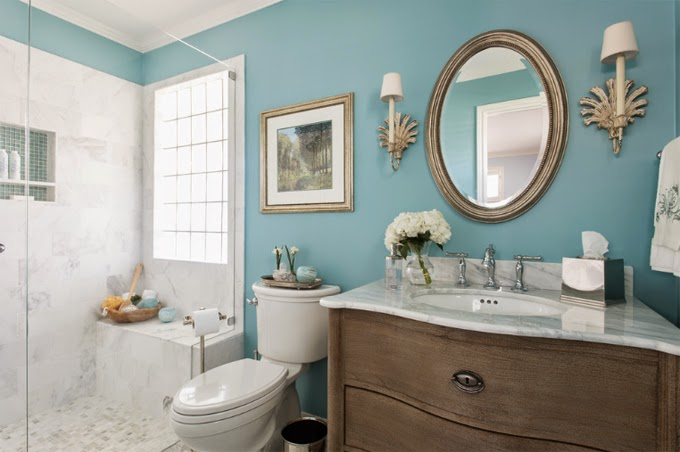Marvelous Smokey Turquoise Bathroom Color