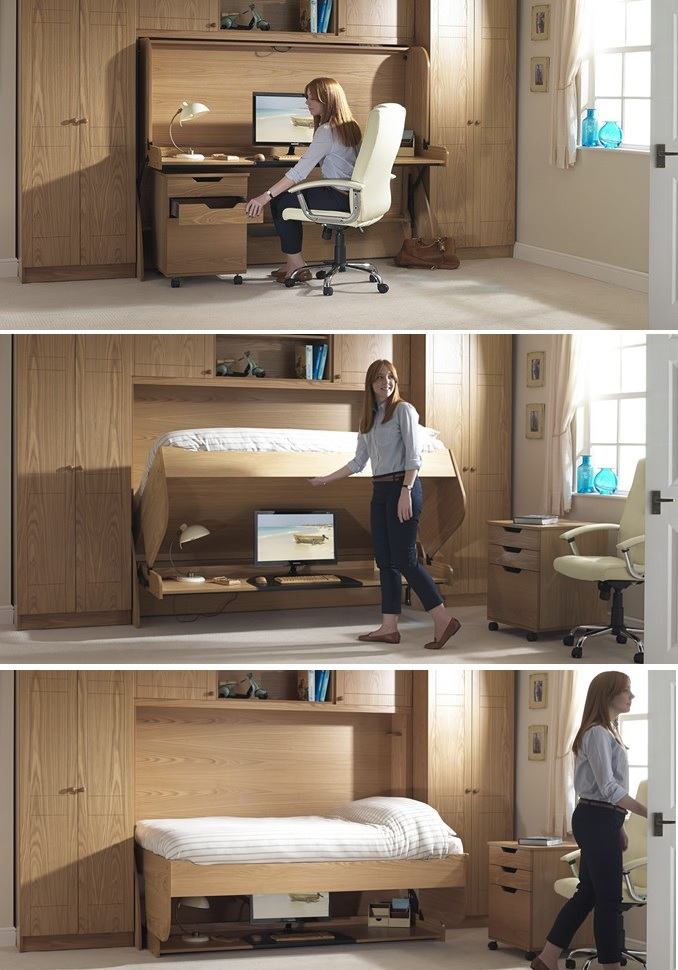 Space saving bed furniture bed and desk