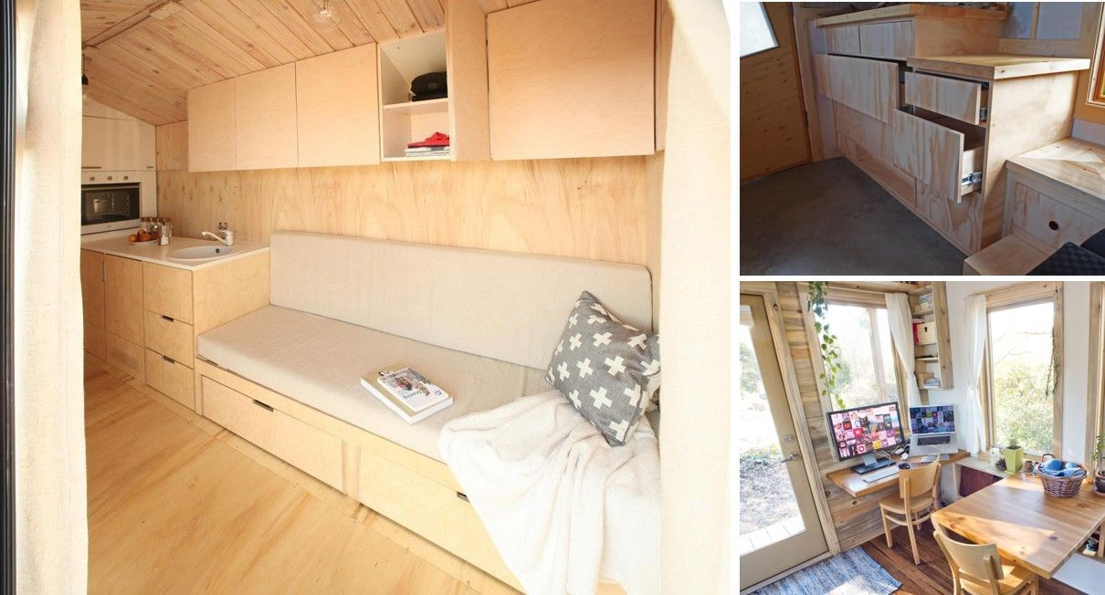 Space saving furniture on tiny house on wheels
